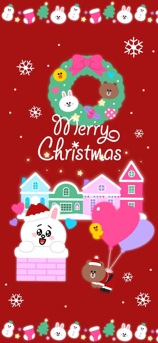 节日快乐 linefriends 红色 圣诞节 布朗熊 可妮兔 气球