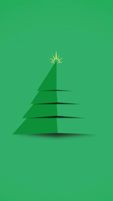 绿色 圣诞树 简约 层次