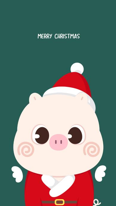 圣诞 猪 卡通 merry christmas 绿色