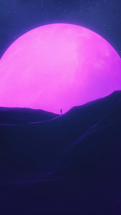 空间 星球 星空 背影