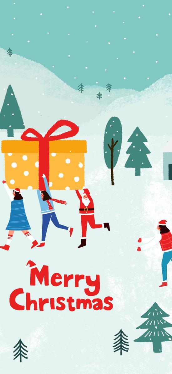 圣诞 欢乐 圣诞老人 礼物 雪地