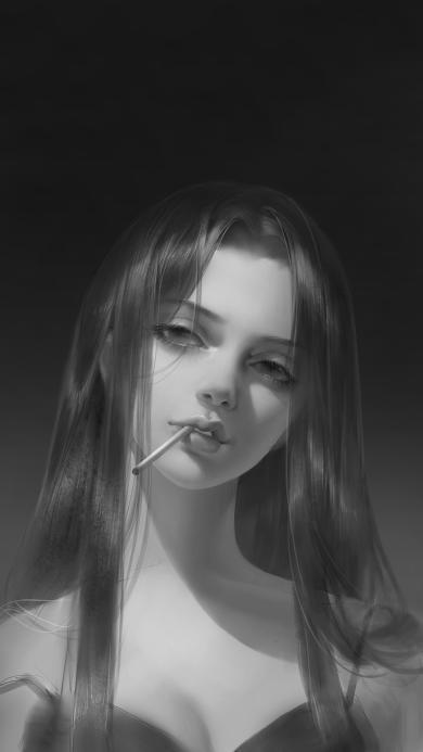 女孩 手绘 黑白 艺术 香烟 二次元