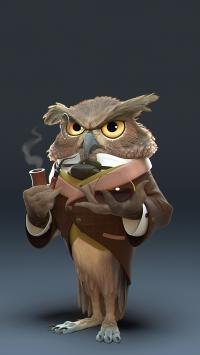 猫头鹰 插画 艺术 抽烟