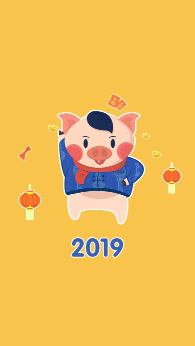 2019 新年 猪 黄色