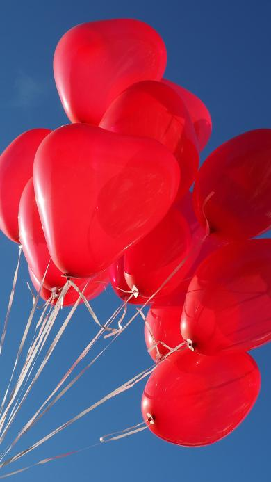 气球 飞舞 线 心形