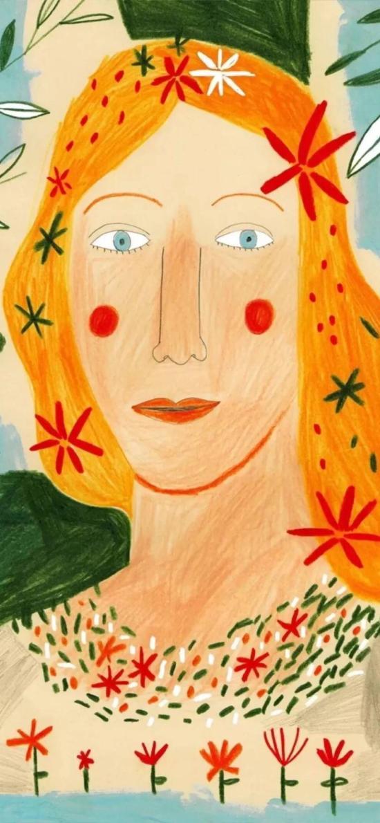 女孩 插画 色彩 艺术 涂鸦