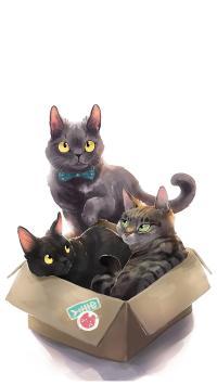 插图 猫咪 纸箱 艺术 可爱