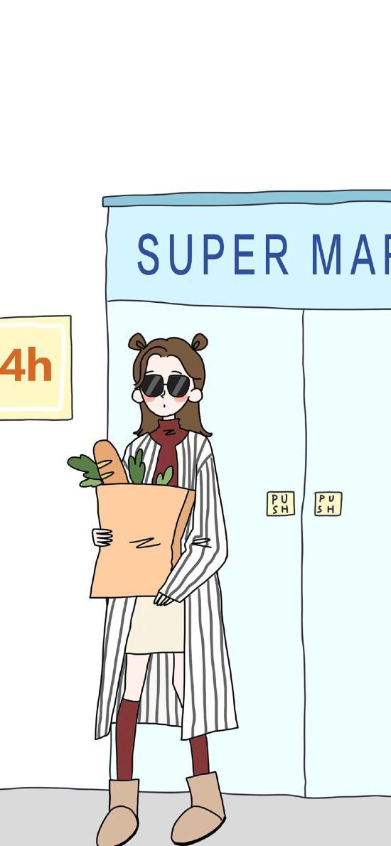 女孩 插画 超市 购物