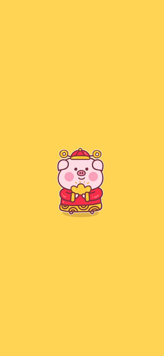 猪 可爱 财神 金元宝 黄色 新年
