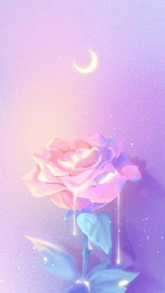 玫瑰 插图 紫色渐变 梦幻 月牙