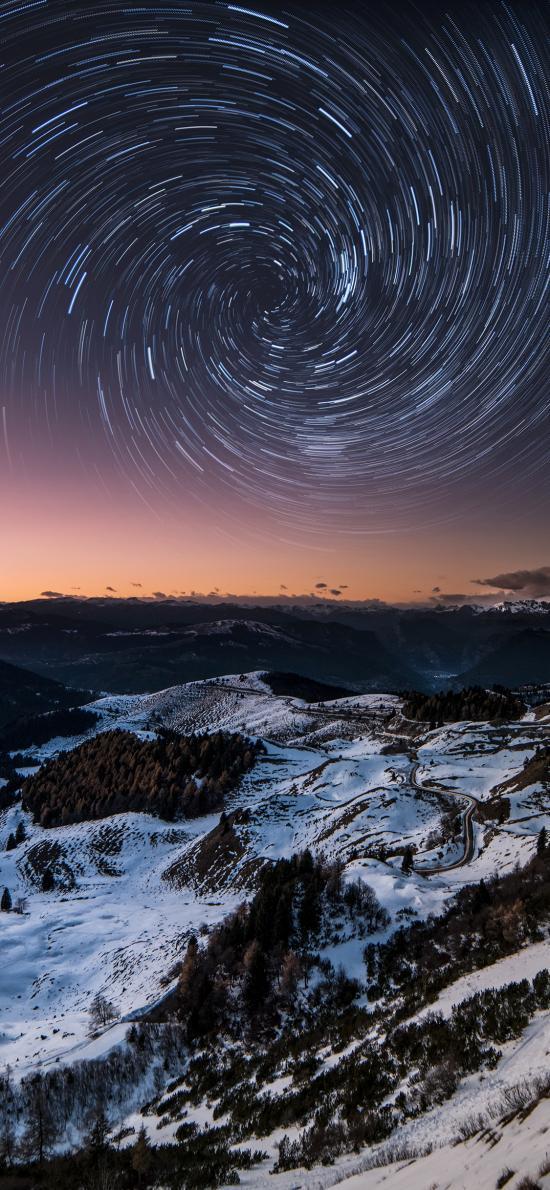 夜景 郊外 山峰 星轨 天象