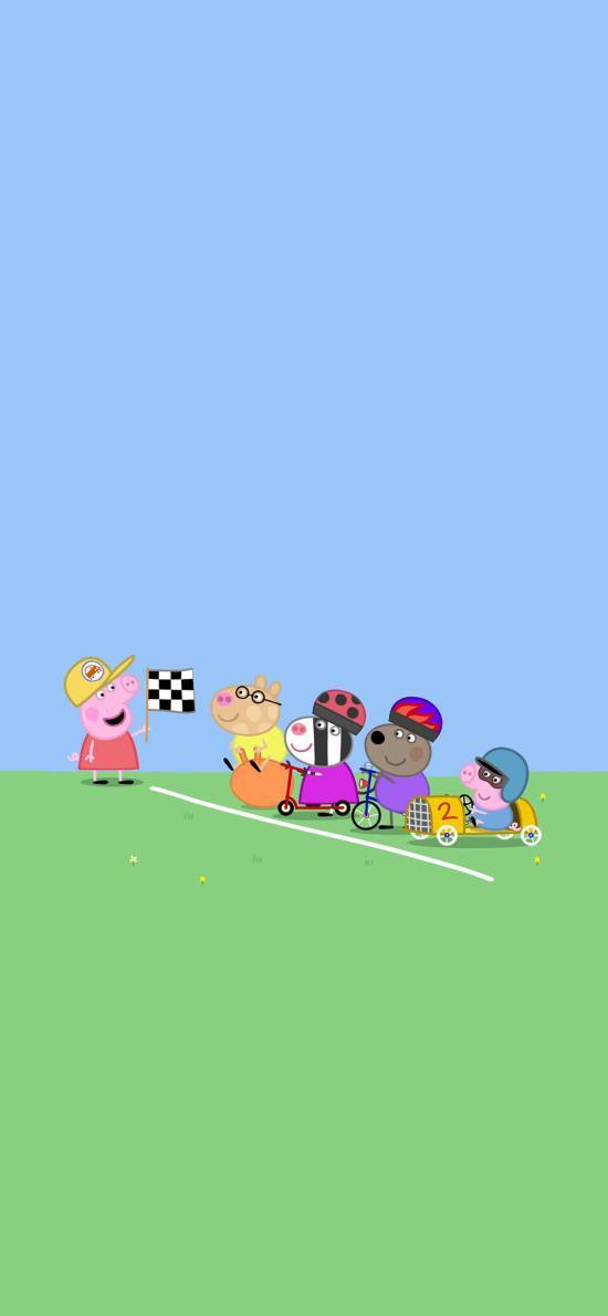 小猪佩奇 卡通 动画 驾驶 比赛