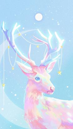 驯鹿 插图 色彩 梦幻