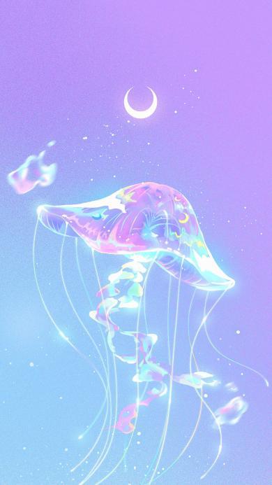 水母 插图 梦幻 紫色渐变