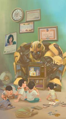 大黄蜂 宣传海报 复古 机器人 电影 电视机