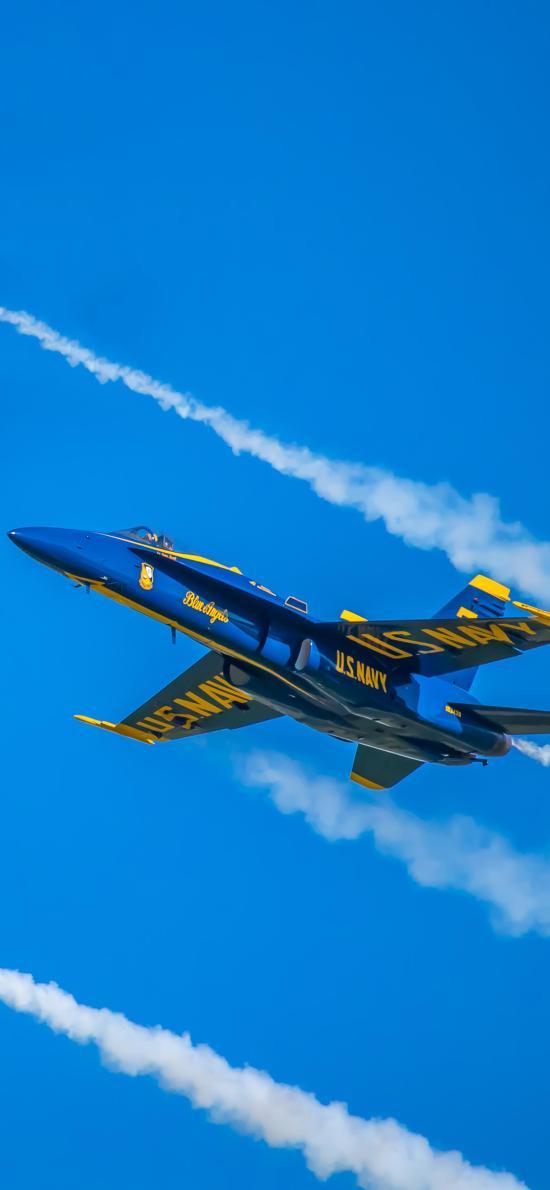 飞机 飞行 航空 战斗机 蓝色 喷雾