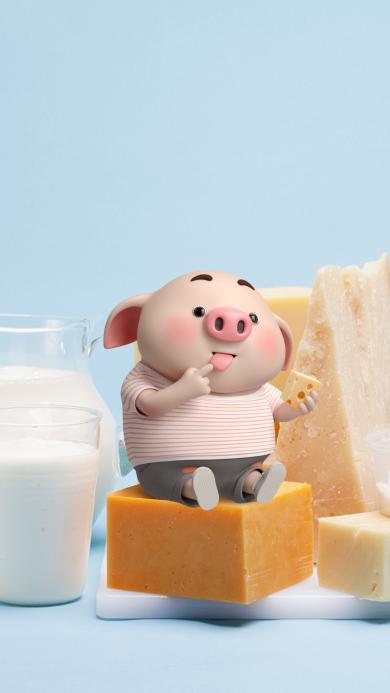 猪小屁 可爱 奶酪 吃 牛奶