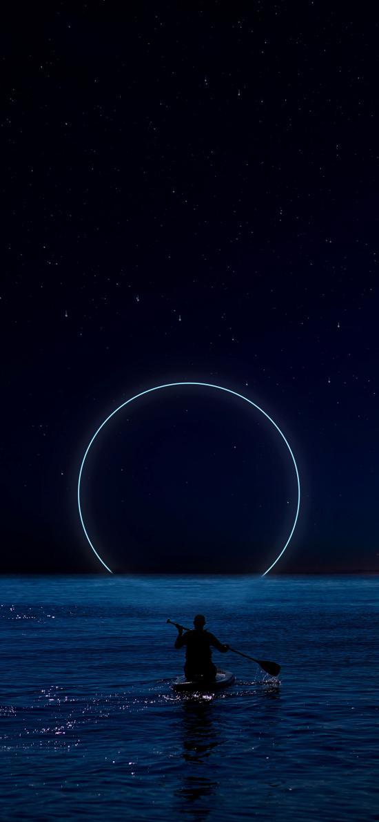 划船 圆 夜晚 星空 海水