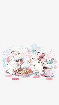 插画 兔子 企鹅 饼干