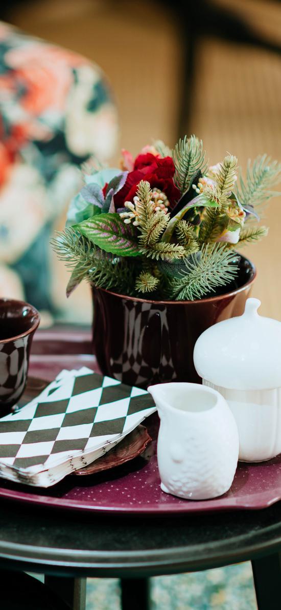 靜物 盆栽 杯具 餐巾紙
