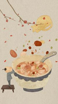 腊八粥 插画 传统美食 猫咪