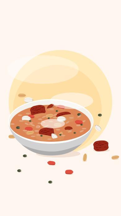 腊八粥 插画 传统美食 红枣