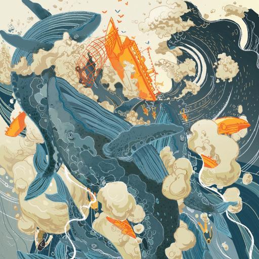 鲸 绘画 海浪 船 插画