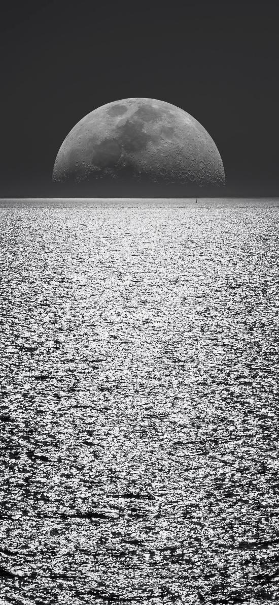 海面 夜晚 月亮 黑暗