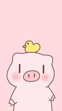 粉色背景 卡通 猪猪 感到鸭力