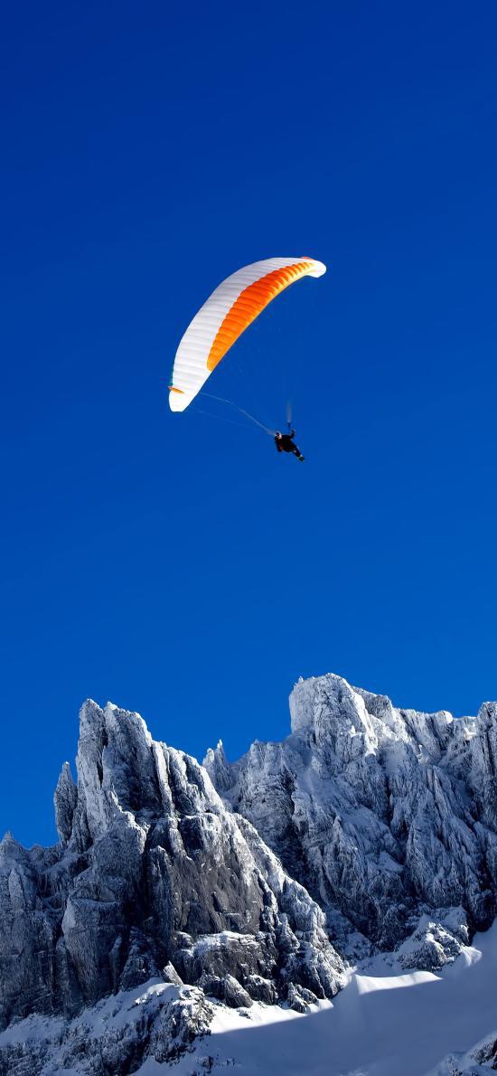 山峰 天空 极限运动 跳伞 降落伞
