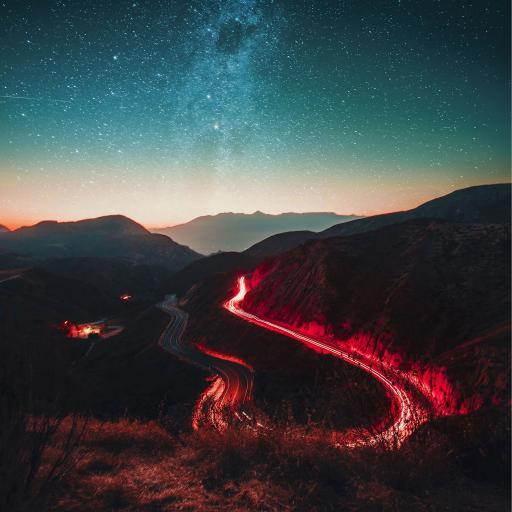 夜景 星空 盘山公路 夜灯