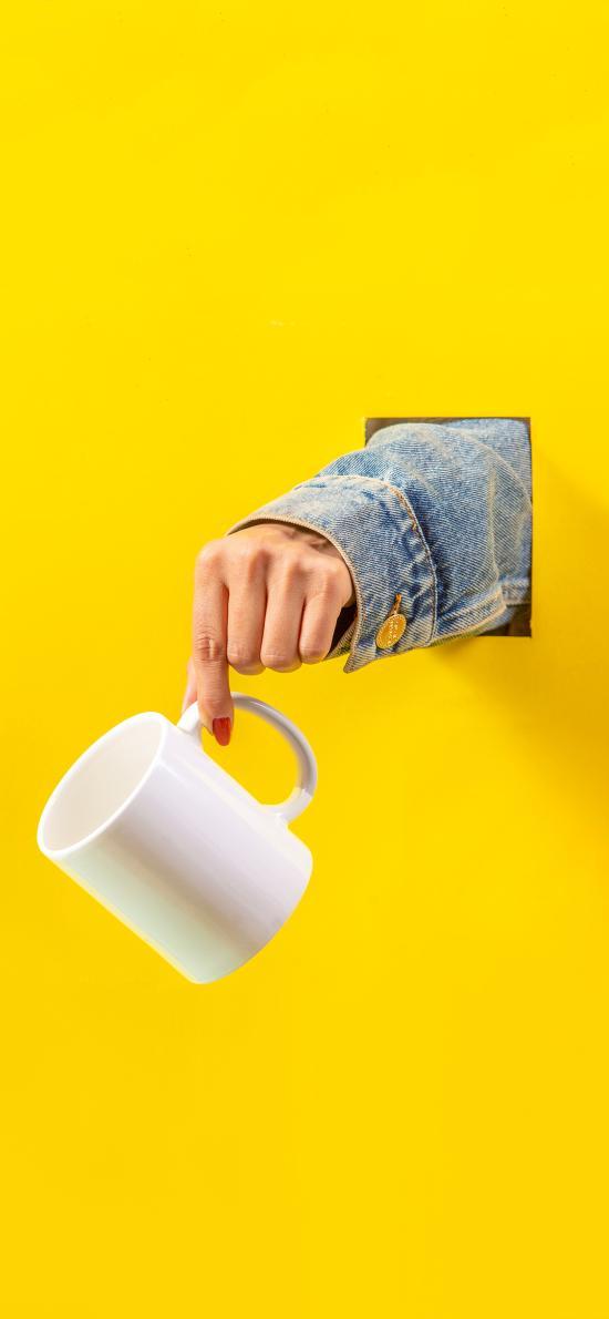黄色 创意 写真 杯子 特写