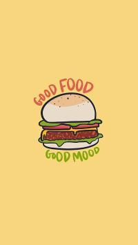 绘画 汉堡 good food 黄