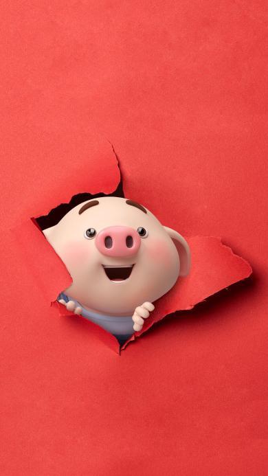 猪小屁 动画 红纸 撕破