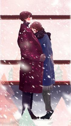 拥抱 情侣 冬季 浪漫 爱情