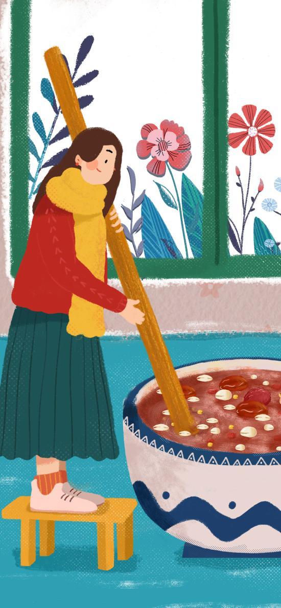 腊八粥 插画 传统美食 女孩 搅拌