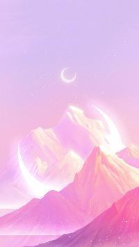 山峰 粉色 插图 静谧时光 梦幻