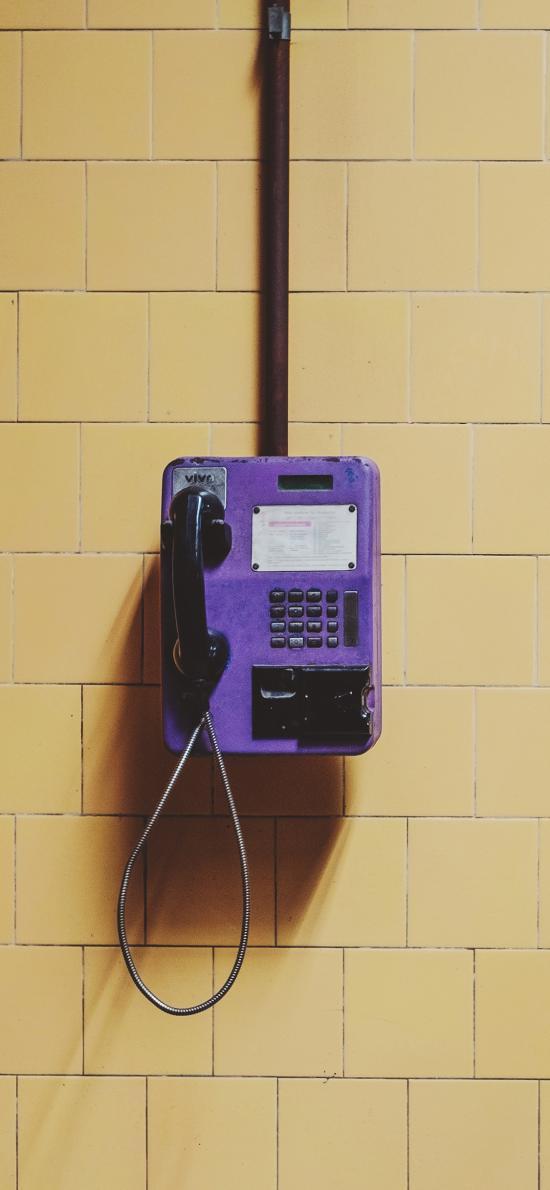 公用電話 通訊 紫色 插卡