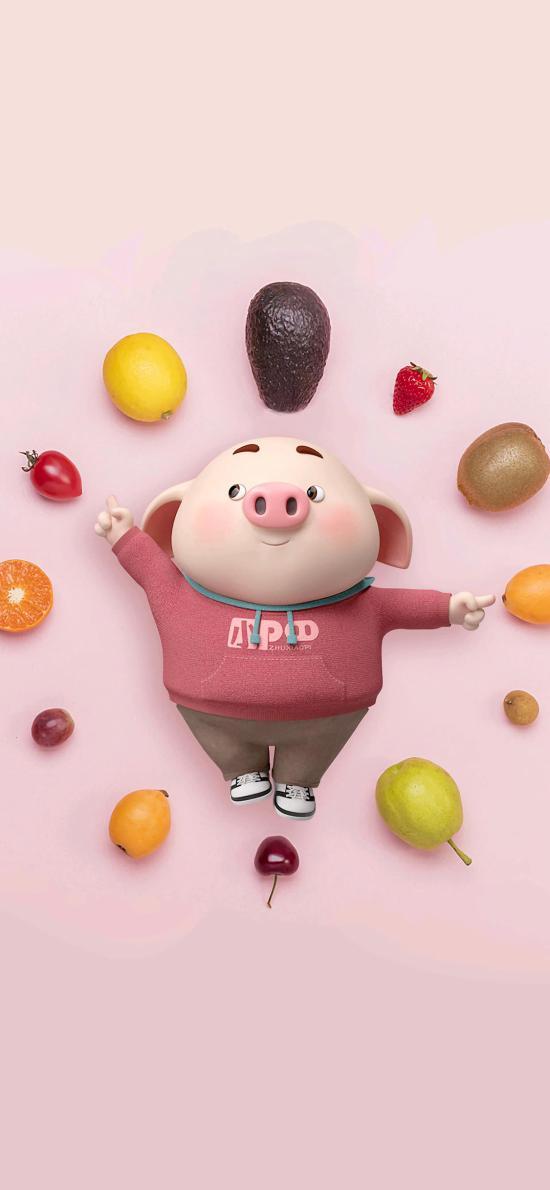猪小屁 水果 动画 可爱