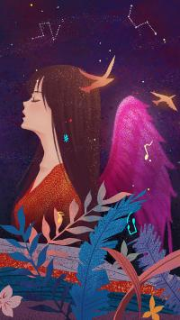 情侣 插画 女孩 翅膀
