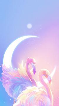 火烈鸟 插图 梦幻 渐变粉