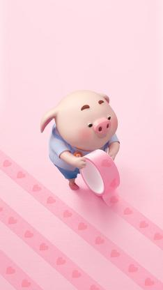 猪小屁 可爱 粉色 胶带