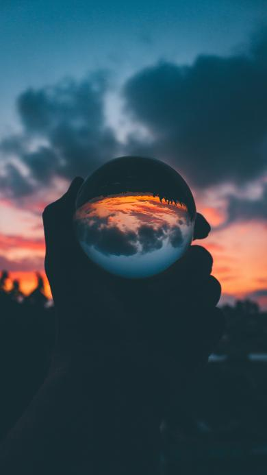 玻璃球 夕阳 晚霞