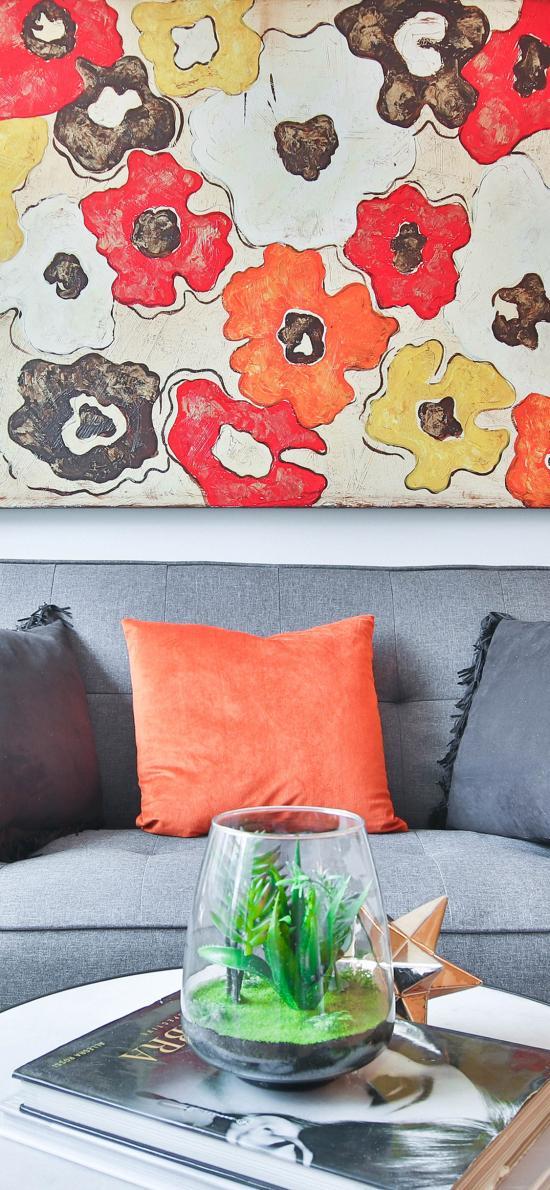 家居 壁画 沙发 盆栽