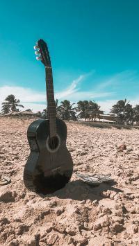 吉他 音乐 乐器 沙滩
