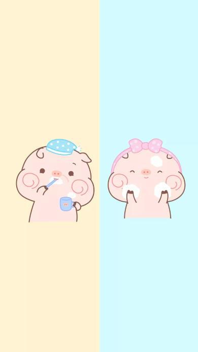 猪猪 情侣 对话框 刷牙洗脸 爱情