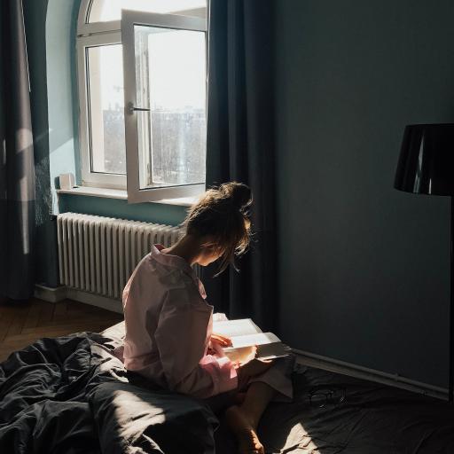 阅读 书本 女孩 被窝 阳光