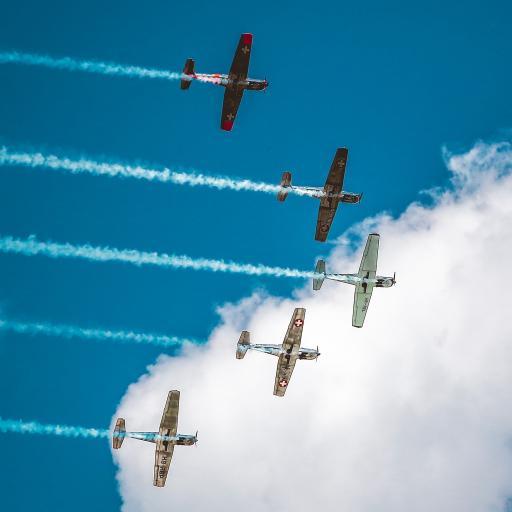 飞机 飞行 航空 烟雾 排列