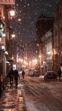 街道 雪景 大雪纷飞 唯美