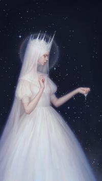 女孩 插画 婚纱 皇冠 梦幻